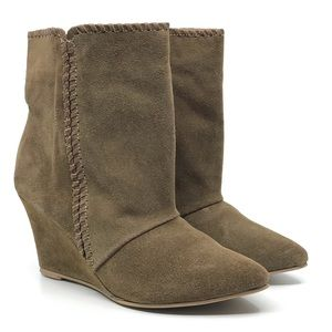 CHARLES DAVID TAN SUEDE POINTY TOE WEDGE BOOTIE